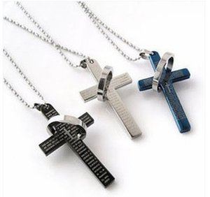Wholesale Cross Necklace Men Vintage Beads Chain Sweater Men Jewelry Titanium Stainless Steel Jewelry Jesus Bible Ring Pendant Men Necklaces
