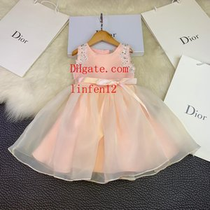 Wholesale Vintage flower girl dresses for weddings dress lovely Mesh dress without sleeve girl gowns Kids Princess dress toddler clothes F D1