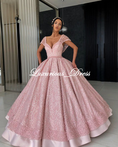 Luxury Pink Ball Gown Prom Dresses V-Neck Cap Sleeves Beading Pearle Evening Dresses Plus Size Special Occasion Dress robes de soirée on Sale