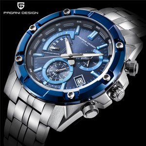 Wholesale PAGANI DESIGN Chronograph Quartz Watch Men Stainless Steel Waterproof Business Wristwatches Mens Sport Watches reloj hombre