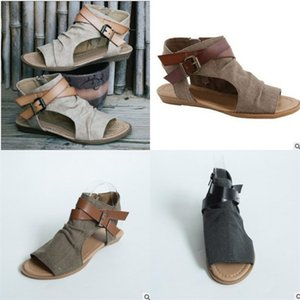 Summer Peep Toe Sandals For Women Buckle Wedges Black Brown Gray Shoes Simple Fashion Rome Hot Sale 30sla D1