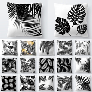 Decoration Home Tropical Decoration Cushion Cover Pillow Black White Plant Leaves Decor for Home Throw Pillow 40547