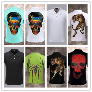 Wholesale Men polo shirt quality summer fashion men tee design print PP polo short sleeve t shirt poloshirt clothes skull shir clothing