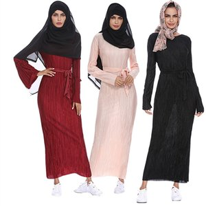 Wholesale Muslim evening gown Long Sleeve Maxi Abaya Dress Solid Color Islamic Clothing Elegant Moroccan Kaftan Robe Turkish Sexy Party Dress Design