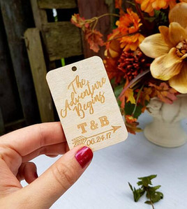 Wholesale personalize Wooden rustic The Adventure Wedding birthday gift favor tags baby shower labels engagement party invitation inserts