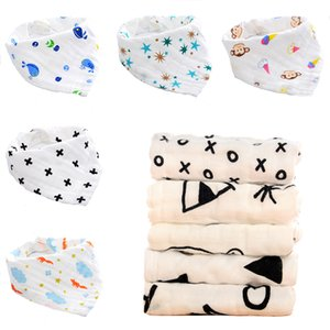 Wholesale 4 layers Newborn Baby Boys Girls Bibs Cartoon INS print Cotton Infant Towel Bandanas Scarf Children Cravat Kids Scarf Styles C6883