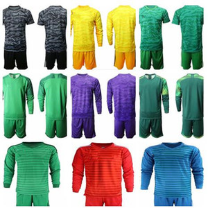Wholesale 2019 Soccer Jerseys Goalkeeper Uniform Kit Adult Men Goalie Blank T shirt Without Team Logo With Ad nk pm Long Sleeve Football Set