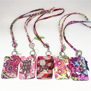 Teens Zip Id Case and Lanyard Set School Card Keeper Card Holder Colorful Floral Design Bus Card Case