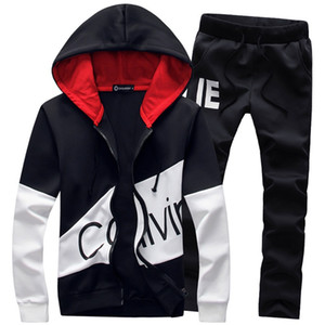 5XL Large Size Tracksuit Men Set Letter Sportswear Sweatsuit Male Sweat Track Suit Jacket Hoodie with Pants Mens Sporting Suits on Sale