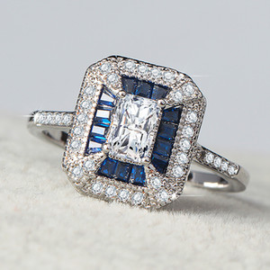 Fashion Women's Wedding Jewelry Gifts White Square Zircon Rings Retro Court Style Inlaid Blue Zirconia Rings for Engagement Anel