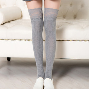 Women Long Stockings Boot Lace Cuff Teenage Girls Sportswear Tight Thigh Breathable Socks black grey Casual Cute stockings