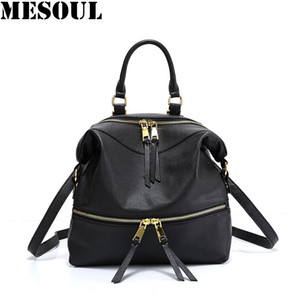 Wholesale Multifunction Backpack Female Genuine Leather Fashion Shoulder Bags For Women Youth Black Travel Backpacks Brand Bagpack