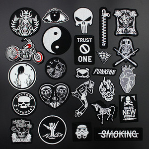 Fashion Cool Punk Skull Patches Iron on for clothing Black Badges Applique for clothes Jacket Jeans Embroidery Patch