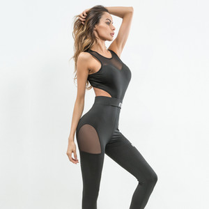 Wholesale 2019 women sexy one piece Yoga Dance Sports Jumpsuit Sleeveless Backless Bandage Cut Out Mesh Fitness Workout Playsuit