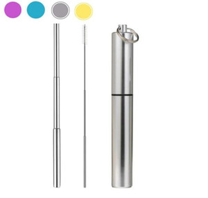 News FDA Portable Reusable Folding Drinking Straws Stainless Steel Metal Telescopic Foldable Straws with Aluminum Case & Cleaning Brush
