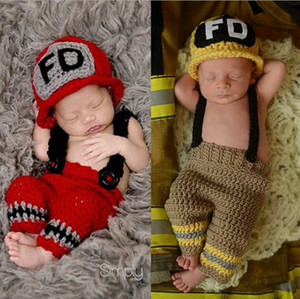 Wholesale Handmade Crochet Baby Fireman Outfit Newborn Photo Props Knitted Baby Costume Christmas Outfit Baby shower Gift