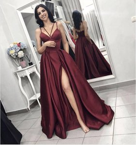Wholesale 2019 New Evening Dresses Burgundy Sexy Prom Dresses Spaghetti Straps A Line Satin High Side Split Backless Party Dresses Evening Wear