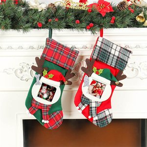Wholesale Christmas socks DIY hanging Christmas gift socks Festival snow socks transparent frame gift bag T3I5462