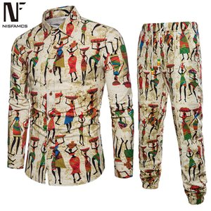 Wholesale Ethnic Festival Wear Men Tracksuit Business Man Casual Travel Set Long Shirt Long Pants Male Turn down Collar Shirt Novelty