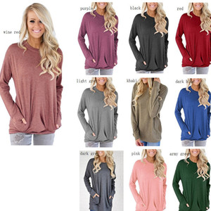 Wholesale 2019 New Women Round Collar bat Long Sleeve T Shirt Female Pocket Decoration T shirts Loose Casual Tees Slim Tunic Tops With Pockets
