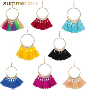 16 Colors Trendy Ethnic Bohemian Tassel Earrings For Women Handmade Jewelry Colorful Big Hoop Statement Earrings For Girl 2019 Gifts Newest
