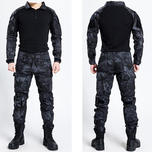 Wholesale Tactical Bdu Uniform Clothing Army Tactical Shirt Jacket Pants With belt Camouflage Hunting Clothes Kryptek Black