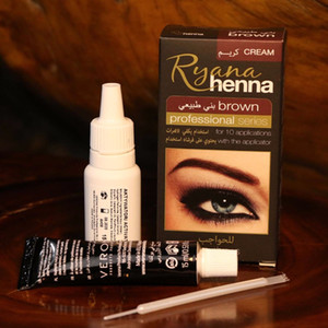 Wholesale dye eyebrows brown resale online - Ryana Henna Natural Eyebrow Eyelash Professional Color Tint Cream Kit minute Fast Tint Brown Black Available easy dye