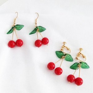 Wholesale Earrings Jewelry Sweet Fruit Green Leaf Red Cherry Dangle Women Ear Hook Clip Earrings For Women Jewelry