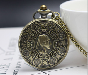 Woman Mother's Day Quartz Pendant Clock Bronze Necklace Pocket Watch Chain Gift Watch Pll5688