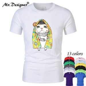 Cartoon Lovely Cat covered with Flower Quilt Cotton T Shirt Men and Women Unisex Cool Printed Designed Men Clothes Tee CT08019
