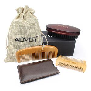ALIVER 3pcs set Fashion Men Beard Kit Styling Tool Beard Styling Care Bristle brush Peach comb gift sets B