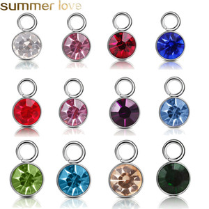 Wholesale 2019 New Stainless Steel Birthstone Charms Rhinestones MM Charm Pendant DIY for Jewelry Making Necklace Bracelet