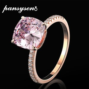 Wholesale solid gold diamond ring resale online - PANSYSEN K Rose Gold Color Women Fine Jewelry Rings Solid Sterling Silver Natural Pink Quartz Diamond Ring Wedding Gifts CX200611