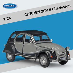 WELLY Diecast Model Car Toy, Citroen 2CV 6 Charleston Retro Vintage Car, 1:24, Ornament, for Party Kid Birthday Gift, Collecting, Decoration
