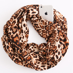 Fashion Portable Zipper Pocket Scarf Creative Women Leopard Printing Convertible Infinity Scarf Travel Journey Ring Scaves TTA1489