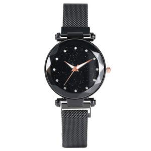 Wholesale Luxury Black Star Dial with Diamond Quartz Watch Thin Stainless Steel Mesh Band Watches Luminous Analog Wristwatch for Women