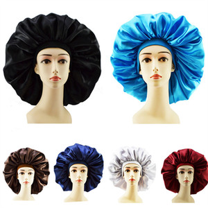 Women Sleeping Hat Nightcap Solid Color New Soft Silk Wide-brimmed Elastic Headband Shower Cap Satin Long Hair Care Bonnet Hats Top Quality