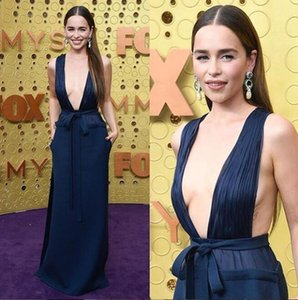 Wholesale 2019 Emilia Clarke sexy Deep V-Neck sheath Evening Dresses Emmy Awards Prom Dresses Long split Special Occasion chiffon Vestidos de Noche