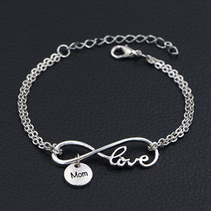 Double Infinity Love Mom Round Pendant Charm Bracelets Bangles for Women Men Silver Link Chain Lucky Adjustable Friendship Wish Jewelry Gift on Sale