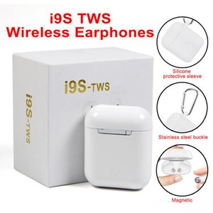 Wholesale i9 i9s tws wireless bluetooth headphones ture stereo Earphones earbuds with magnetic charger case silicone protector case Anti Lost Rope
