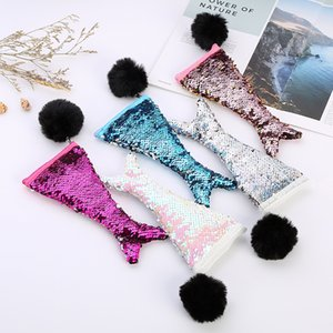 Sequins Plush Ball Pencil Case cosmetic bag Hairball colorful types girl travel outdoor coin purse creative bag QQA337