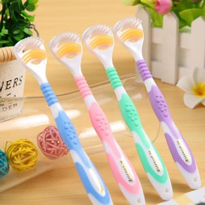 Wholesale Whosesale K SHORE Hot Tongue Clean Toothbrush Gingival Dew Double Clean Tongue Coat Brush Anti skid Handle Gold