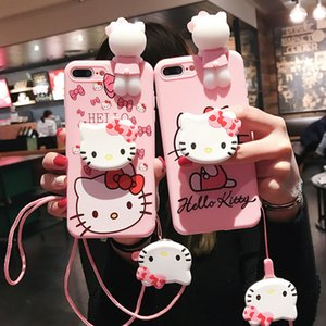 Cute Cartoon Hello Kitty Phone Case For iPhone 6 6S 7 8 Plus X XS MAX XR Soft Silicone Pink Doll Back Cover with keychain Kickstand cases