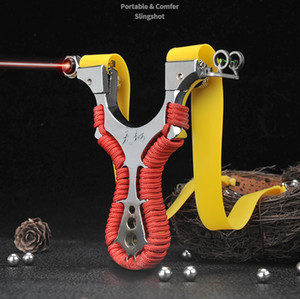 Alloy Archery Slingshot Hunting Catapult High-precision Outdoor Shooting Target with Flat Rubber Band Lamp Aiming Points Slingbow