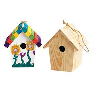 Wholesale 2pcs Paint Unfinished Wood Bird House Bird Cage Garden Decoration Spring Products Home Ornament x6x9 Cm Freeshipping