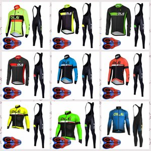 Wholesale ALE team Outdoor bicycle Riding Bib pants sets Cycling long Sleeves jersey Mens sports clothing free delivery Q82108