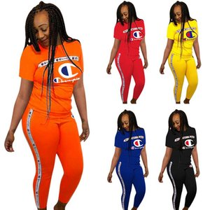 Women Champions Short Sleeve T shirt + Pants Outfit Summer Tracksuit Letter Print 2 Piece Sportswear Sports suit Joggers Set A362