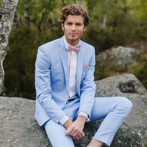 Wholesale grooms tuxedo beach for sale - Group buy Latest Design Light Blue Men Suits Groom Wedding Tuxedo Summer Beach Bridegroom Suits Man Blazer Piece Casual Business Jacket Costume Homme