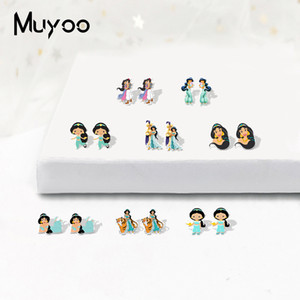 Cute Kawaii Fairy Story Jasmin Princess Acrylic Earrings Lovely Sweet Fairy Story Jewelry Resin Earrings Gifts for Girls