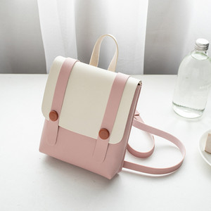 2019 South Korea version of the new backpack single-shoulder handbag color contrast small fresh satchel on Sale